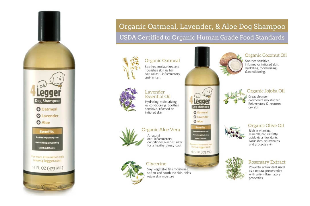 4-Legger Certified Organic Oatmeal Dog Shampoo with Aloe and Lavender Essential Oil