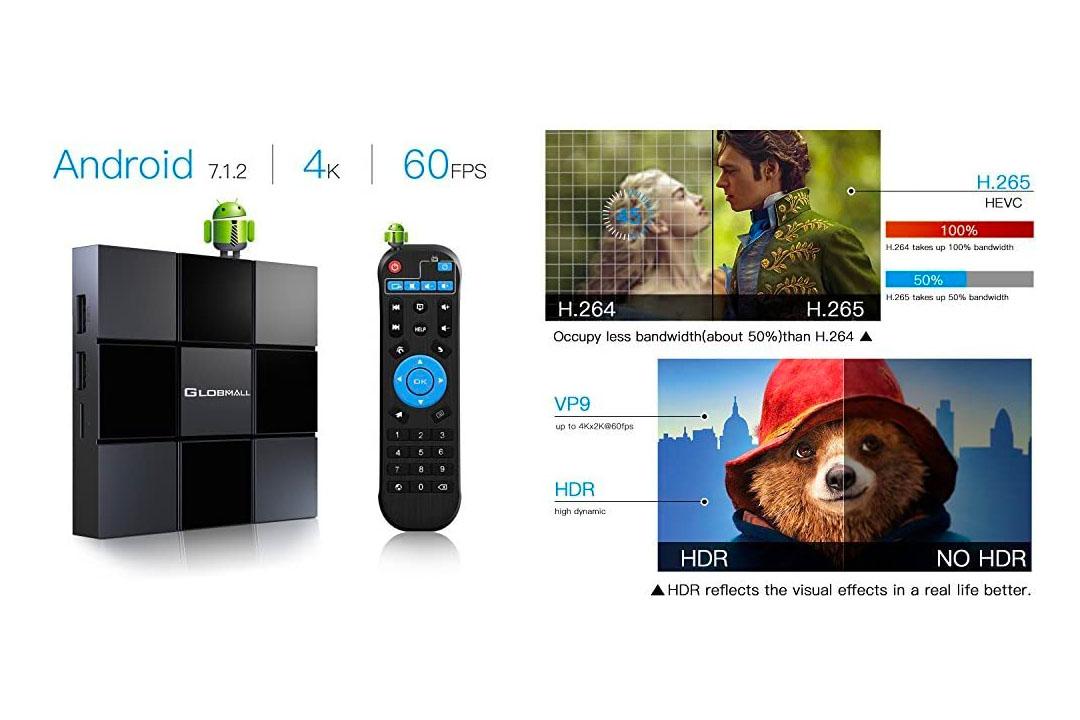 Android 7.1.2 TV Box, Globmall X3 2021 Mini Wi-Fi TV Box Supports 4K Full HD