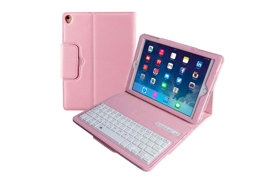 Apple iPad Air/Pro 9.7 Keyboard Case, Eoso Folding Leather Folio Cover with Removable Bluetooth Keyboard for iPad Air,iPad Air 2,iPad Pro 9.7 Tablet(Pink)