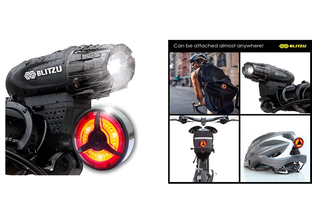 Blitzu Gator 320 PRO USB Rechargeable Bike Light Set POWERFUL Lumens Bicycle Headlight
