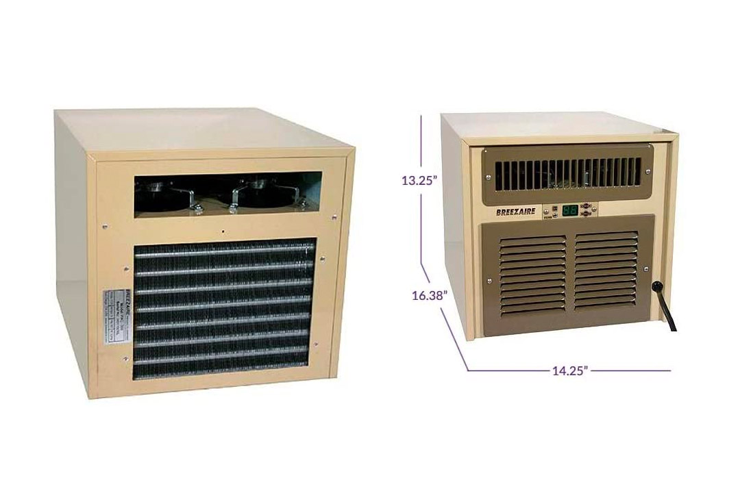 Breezaire WKL-2200 Wine Cellar Cooling Unit Max Room Size = 265 cu ft