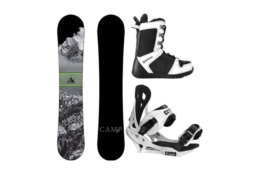 Camp Seven 2016 Valdez Snowboard Summit Bindings & APX Boots Men's Complete Snowboard Package