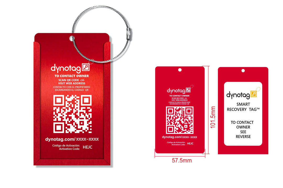 Dynotag Web Enabled QR Smart Aluminum Convertible Luggage Tag w. Steel Loop in Six Colors