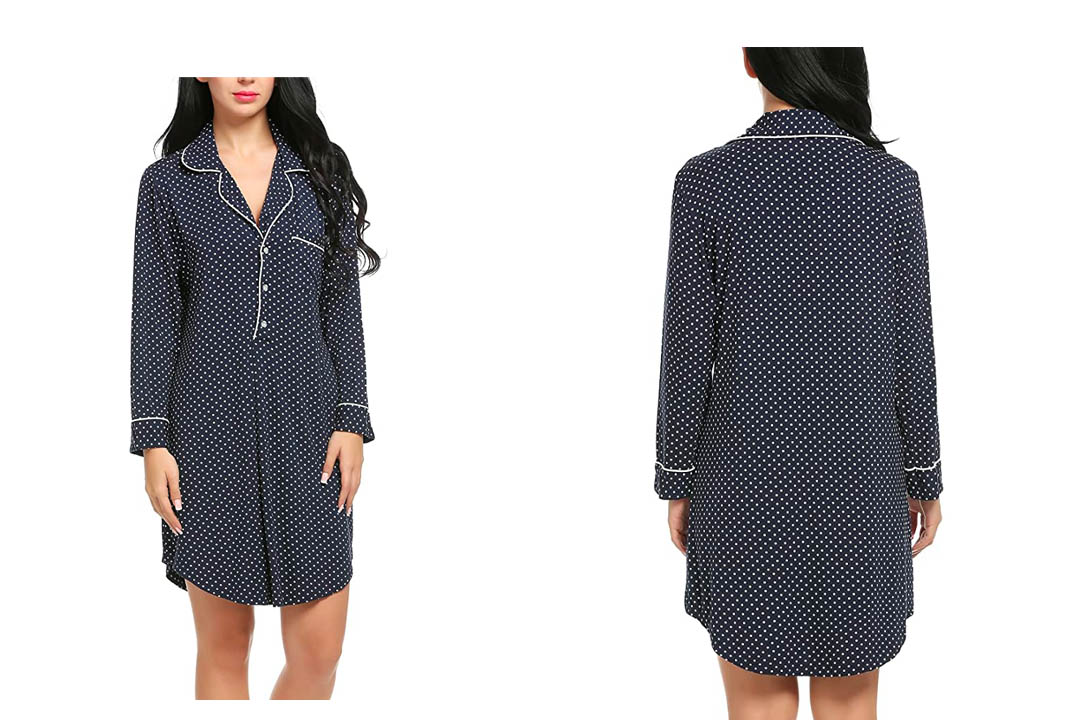 Ekouaer Sleepshirts Womens Long Sleeve Pajama Top Dress Nightshirts Sleepwear S-XXL