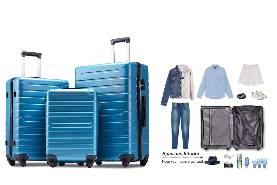 Flieks Luggage Sets 3 Piece Spinner Suitcase Lightweight