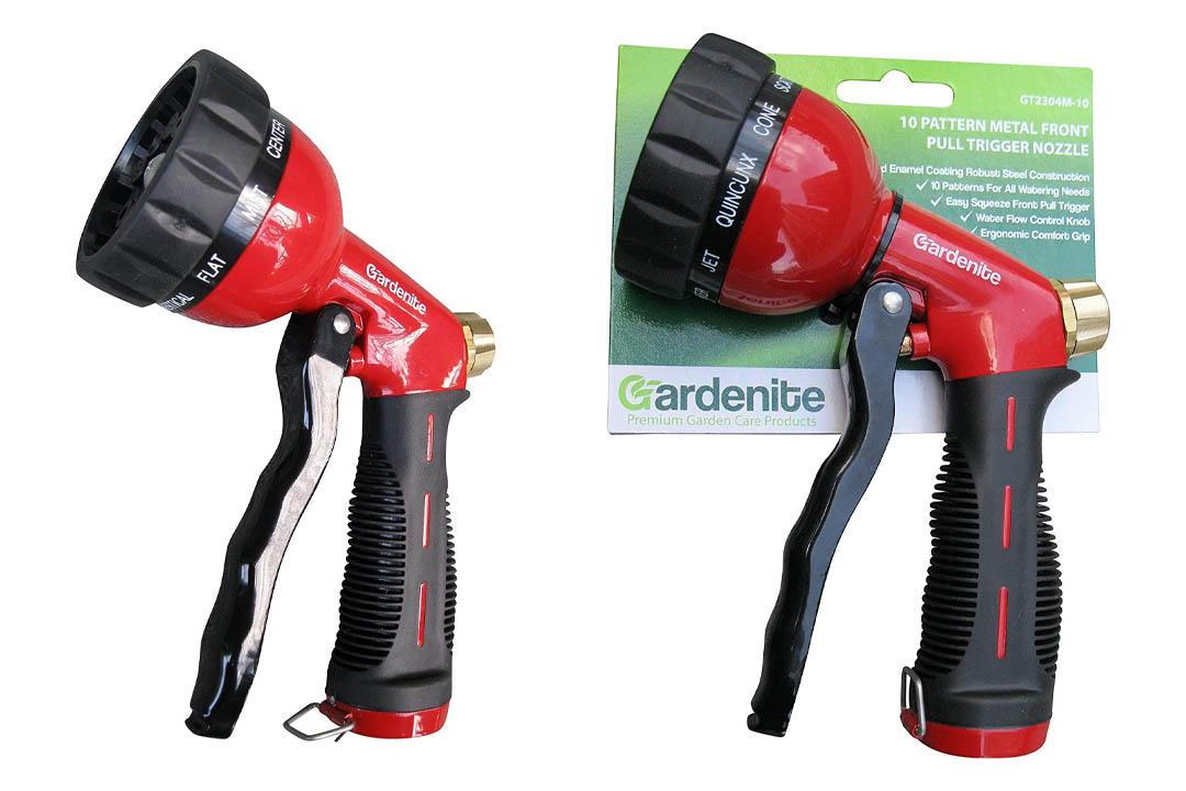 Garden Hose Nozzle / Hand Sprayer 10 Pattern Metal Watering Nozzle