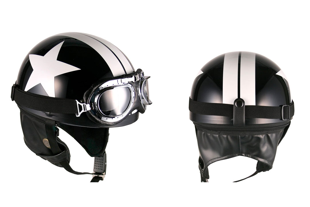 Goggles Vintage German Style Half Helmet
