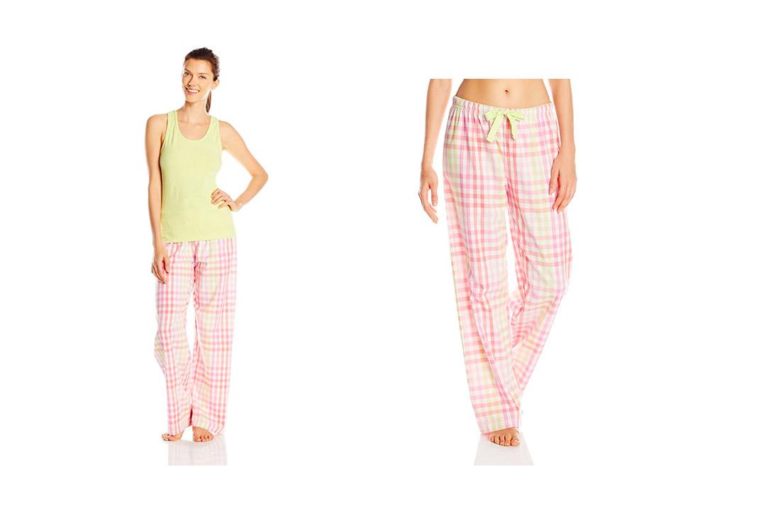 Hanes Women's Ladies Tank with Woven Sleep Pant Pajama Set