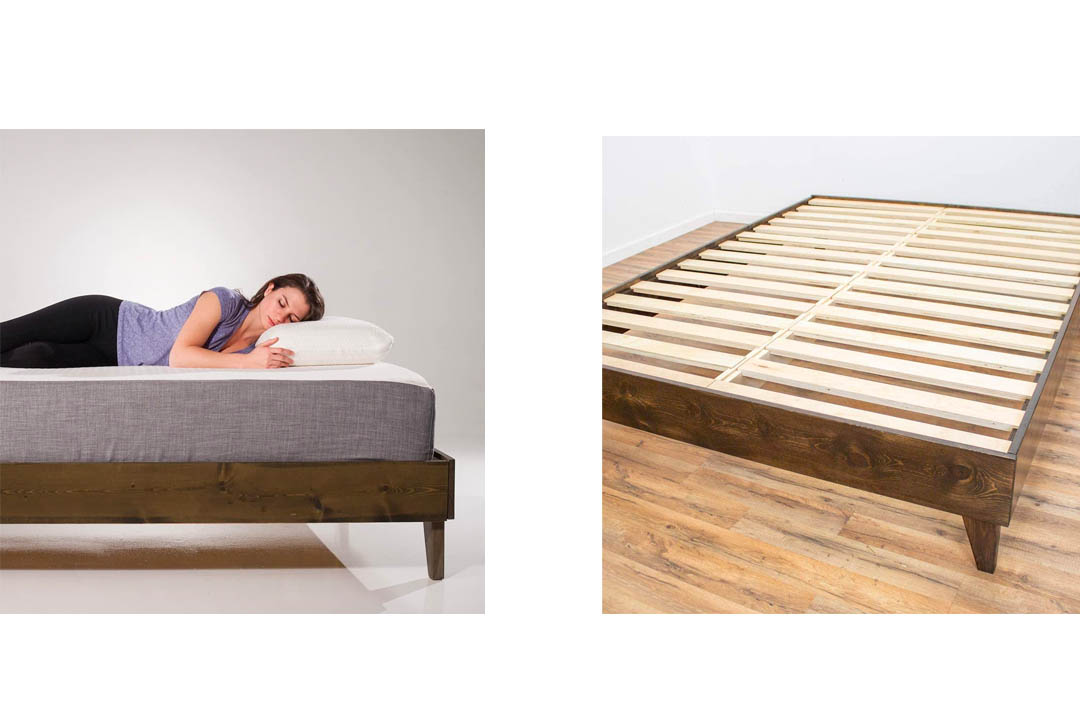 Platform Bed Frame 100% Made in the USA From North American Pine Hardwood by eLuxurySupply