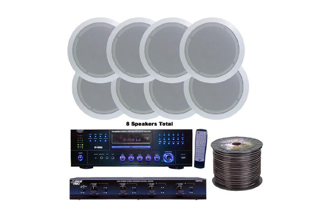 Pyle KTHSP85DV 4 Room Home In-Ceiling Speakers W/DVD/MP3 Amp System