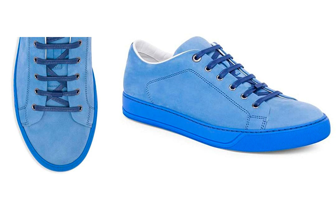 Satya Nadella: Lanvin Suede Low Top Sneakers in Sky Blue
