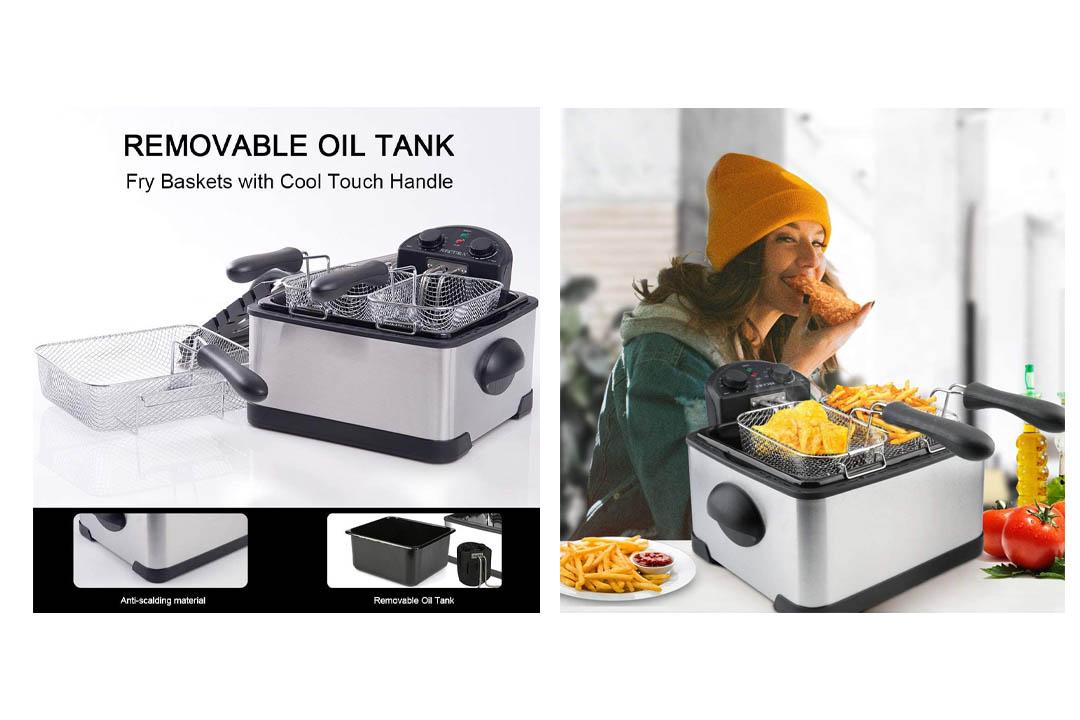 Secura 4.2L/17-Cup 1700-Watt Stainless-Steel Triple-Basket Electric Deep Fryer
