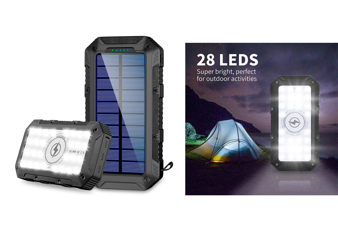Solar Charger 26800mAh,GRDE Wireless Portable Solar Power Bank Panel Charger