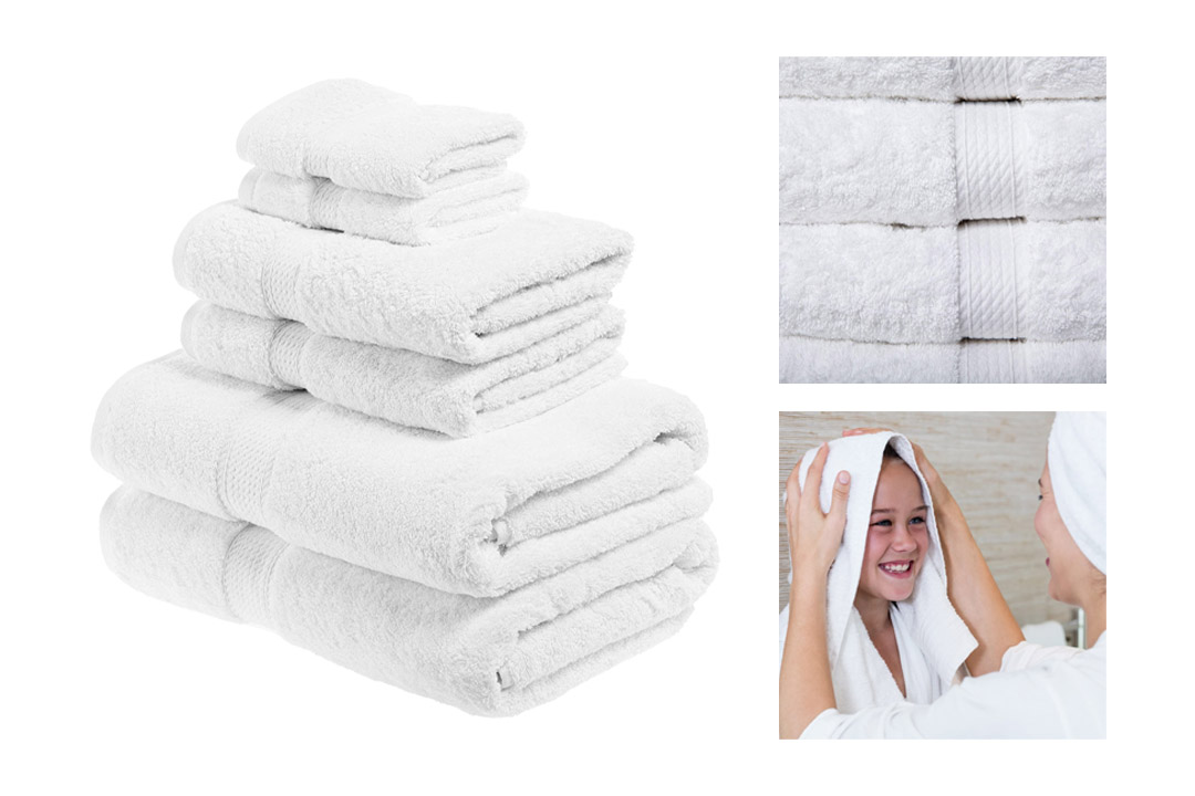 Superior 900 GSM Luxury Bathroom 6-Piece Towel Set, Made of 100% Premium Long-Staple Combed Cotton