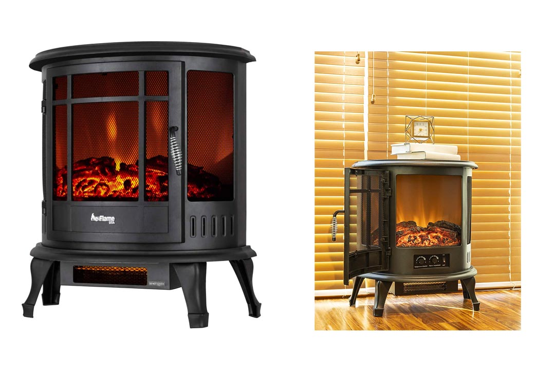 The Regal Electric Fireplace - e-Flame USA 25 Inch White Portable Electric Fireplace Stove with 1500WSpace Heater