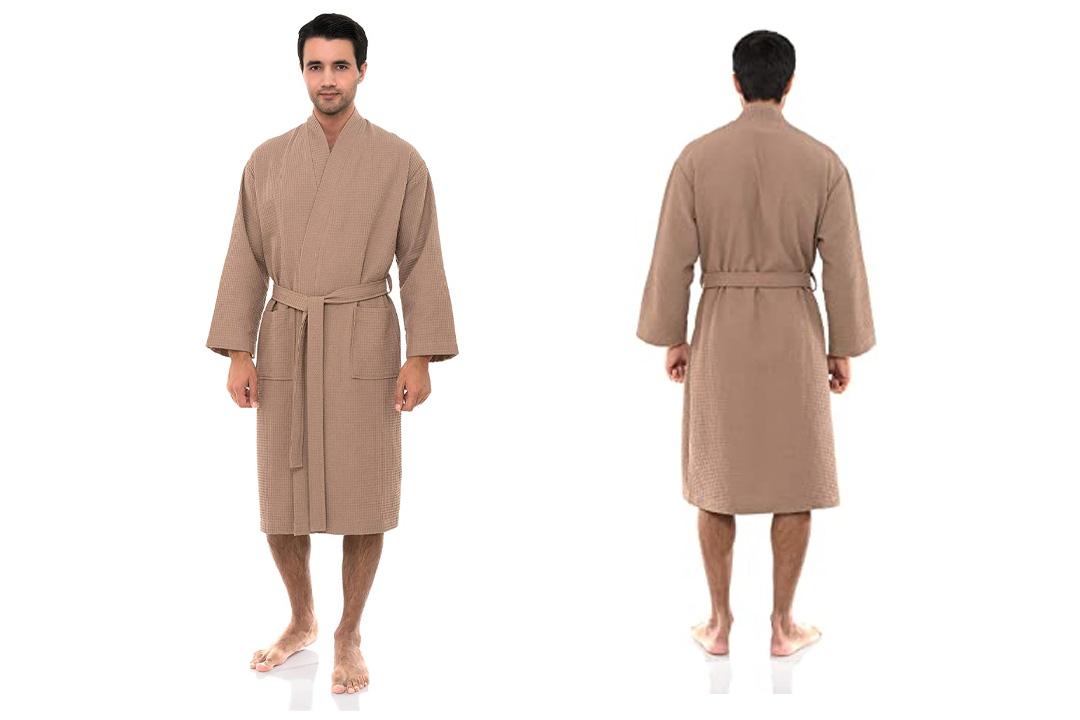 TowelSelections Men's Robe, Turkish Cotton Kimono Waffle Bathrobe Made in Turkey