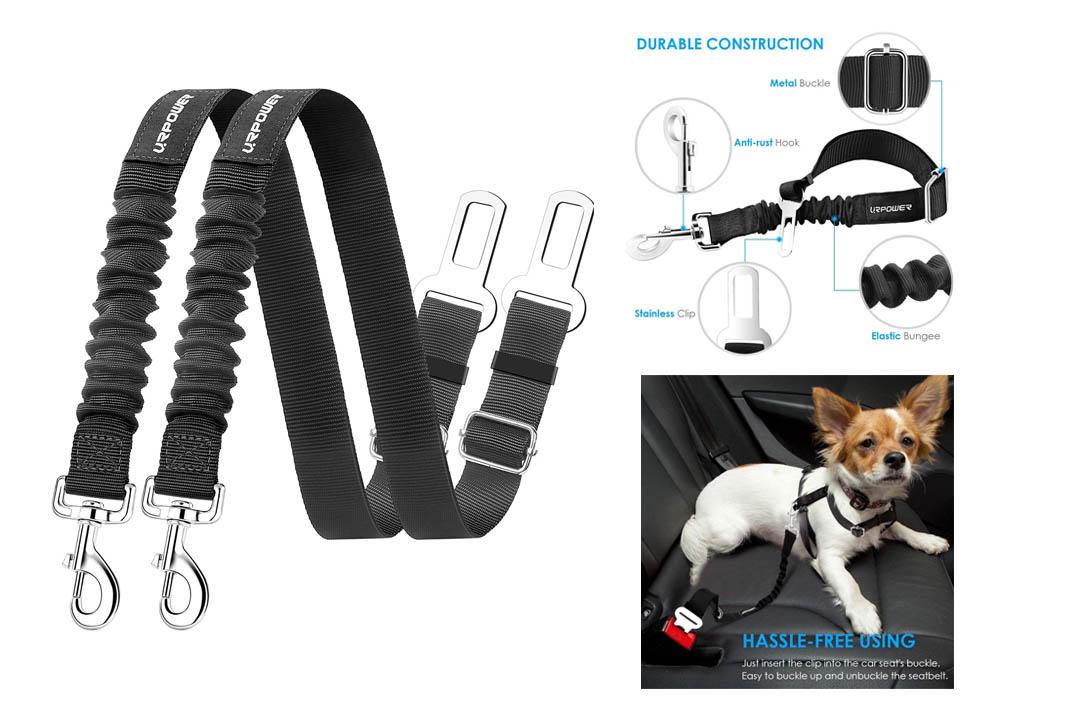 URPOWER Dog Seat Belt 2 Pack Dog Car Seatbelts Adjustable Pet Seat Belt