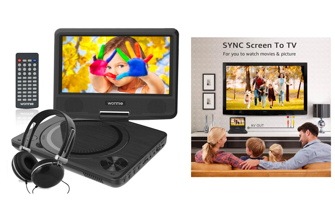 WONNIE 7.5 Inch Portable DVD Player with 4 Hours Rechargeable Battery