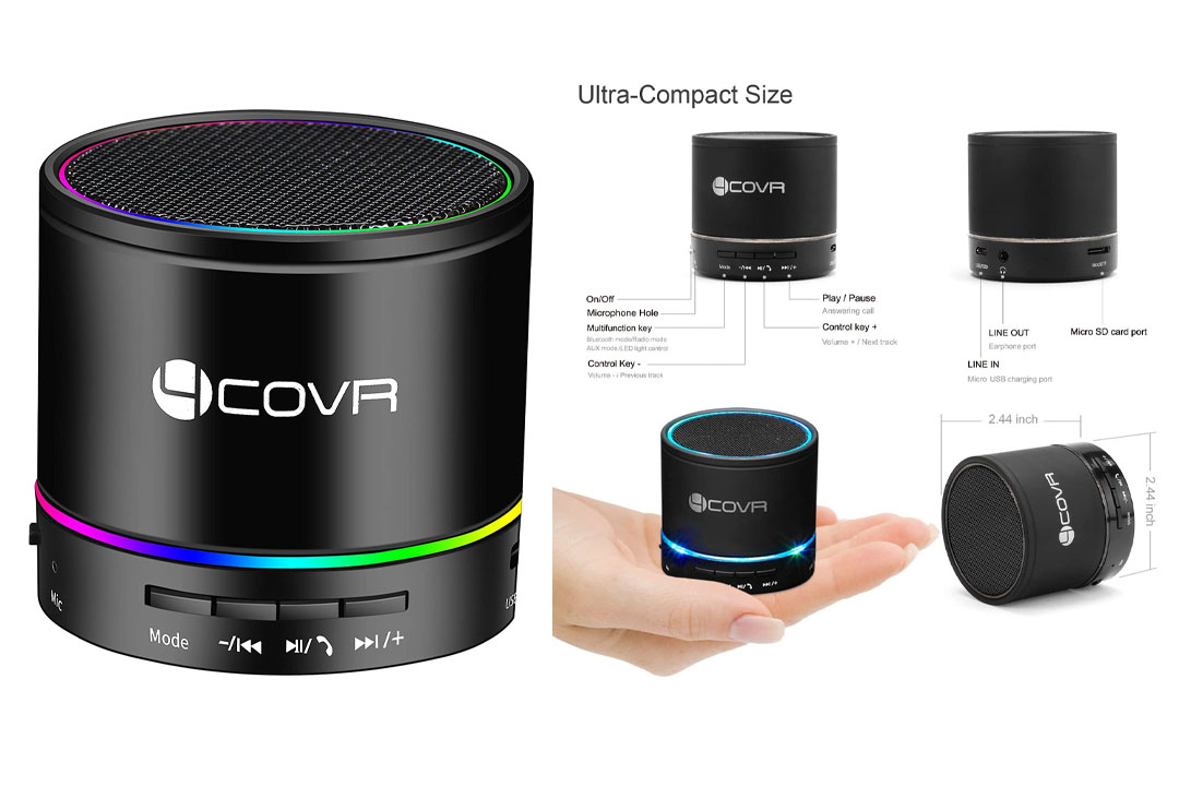 Wireless Bluetooth Speaker - Forcovr Mini LED Best Multi-Function Portable Indoor Outdoor