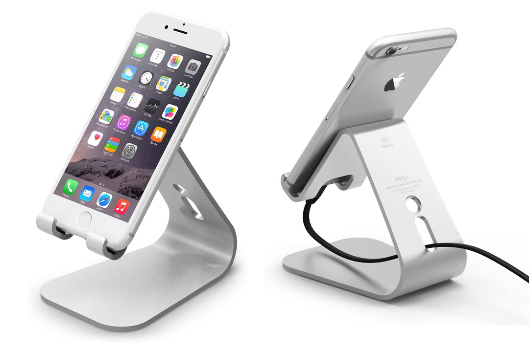 elago M2 Stand for all iphones, Galaxy and Smartphones (Angled Support for FaceTime), Silver