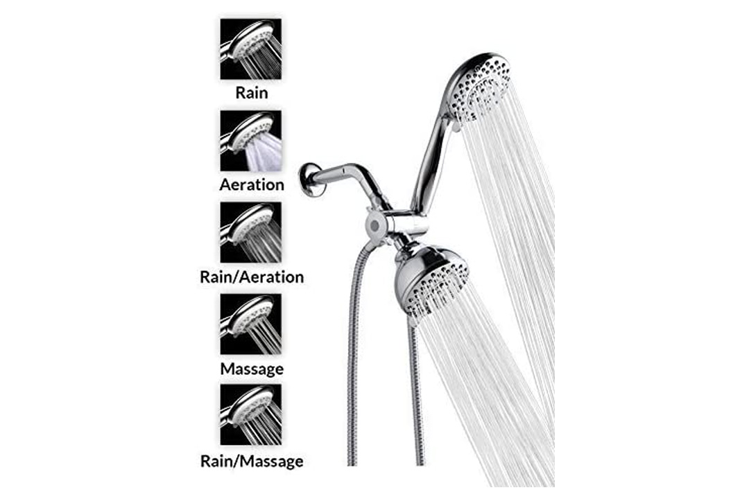 "A-FlowTM 5 Function Luxury 4"" Handheld Shower Head System"