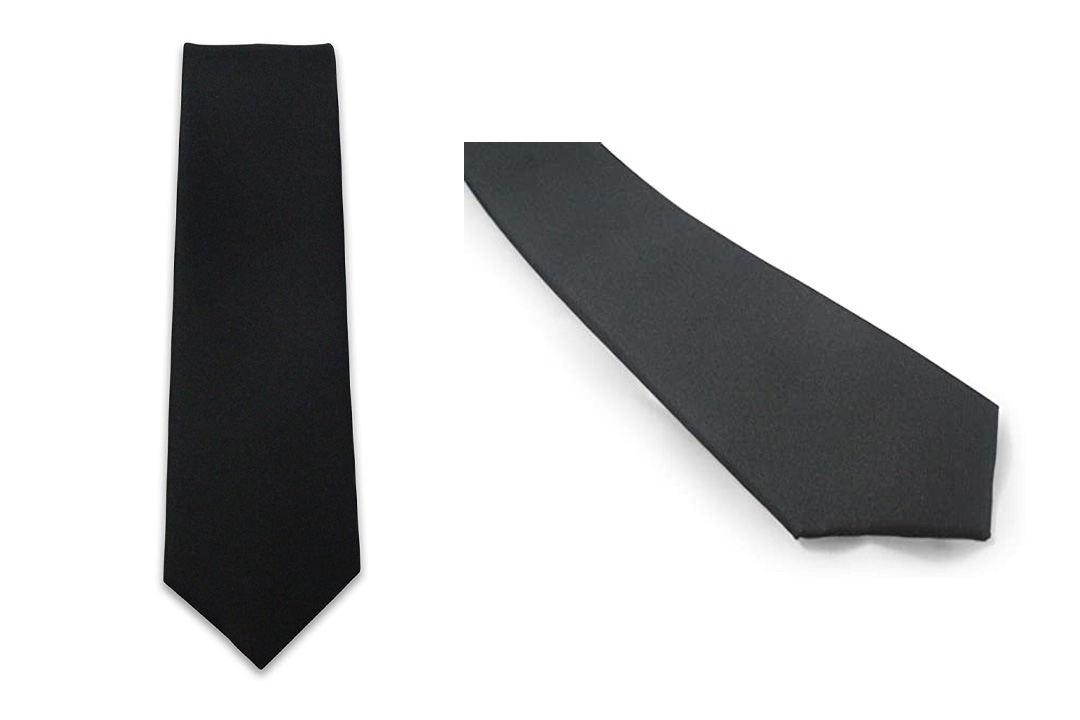 Cascadia Unlimited Men's Solid Black Matte 2'' SKINNY Tie+ White Pocket Square