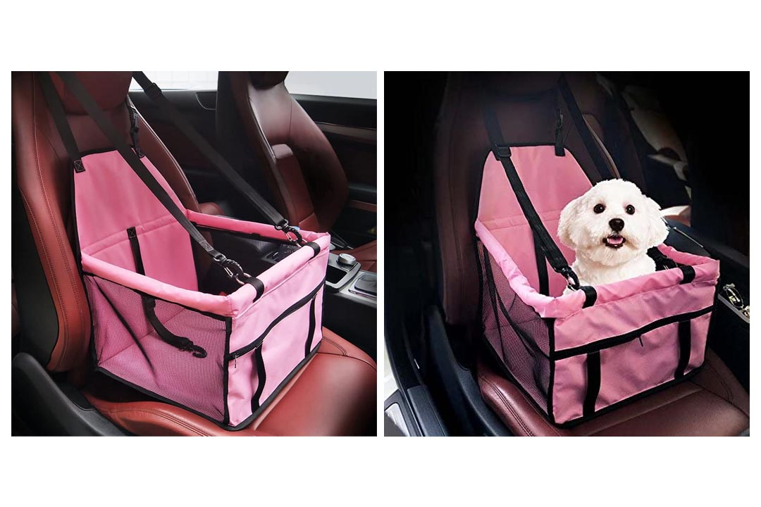 Collapsible Pet Booster Car Seat - Two Support Bars, Portable Small Dog Cat Car Carrier
