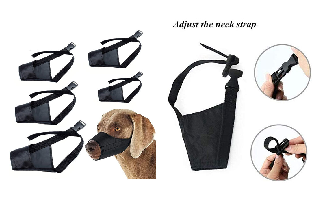 Dog Muzzle Nylon Set (5 IN 1) Adjustable Breathable Safety for Small Medium Large Extra Dog Muzzle