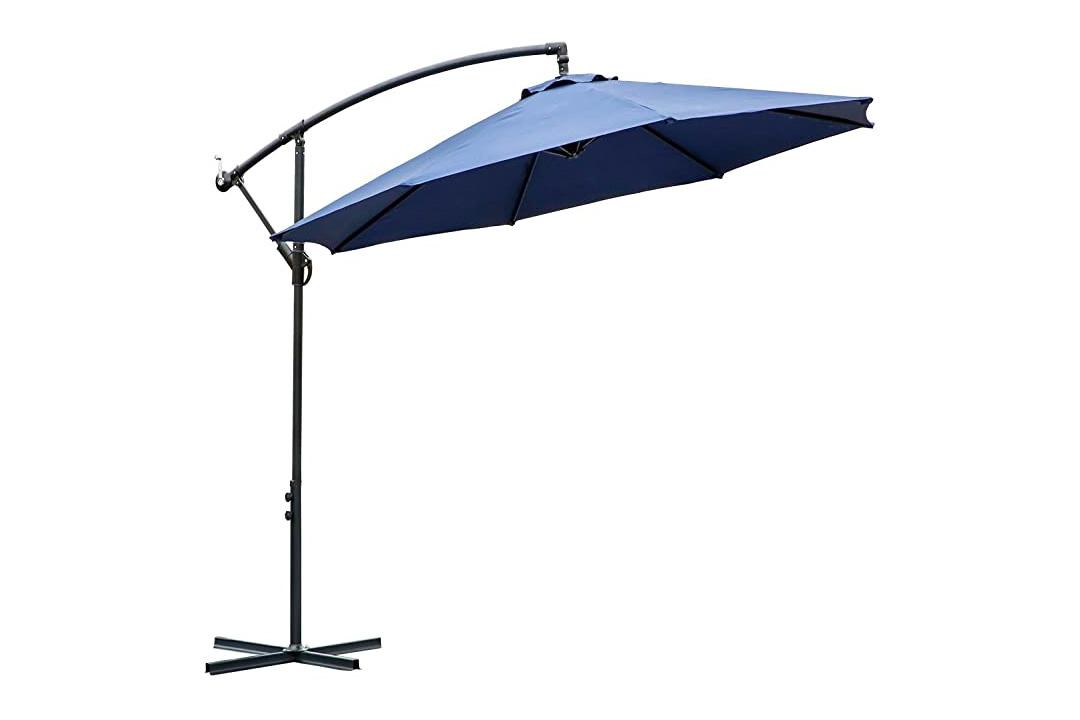 FARLAND 10 ft offset cantilever patio umbrella outdoor market hanging umbrellas & crank with cross base
