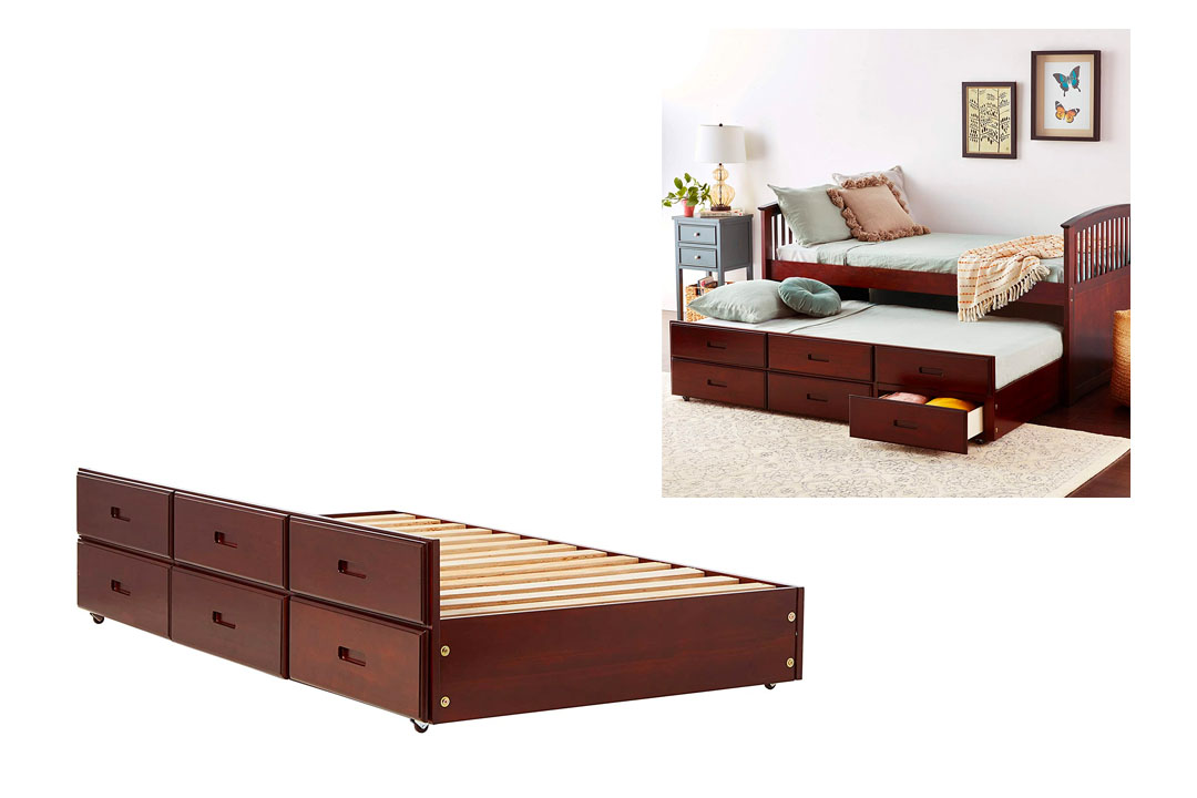 Furniture of America Trundle with 3-Drawers, Twin, Dark Walnut