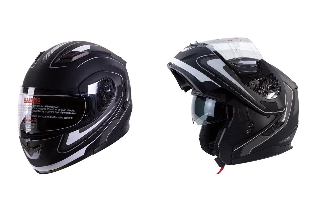 IV2 Mars Dual Visor Modular Flip Up Matte Black with White Stripes Motorcycle Snowmobile Helmet