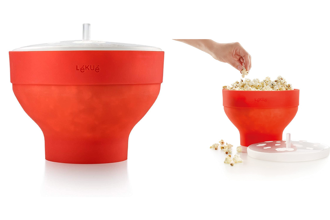 Lekue Microwave Popcorn Popper/ Popcorn Maker, Red