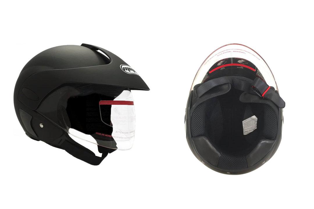 MMG Motorcycle Open Face Helmet DOT Street Legal - Flip Up Clear Visor