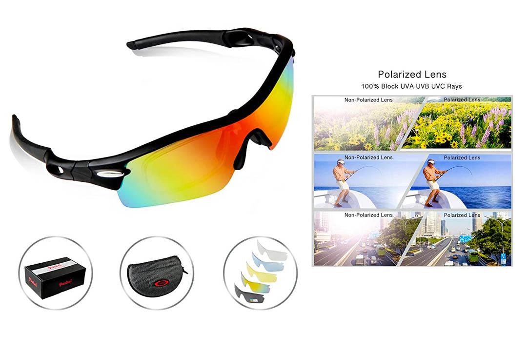 POSHEI P03 Polarized UV Protection Sports Glasses for Men or Women