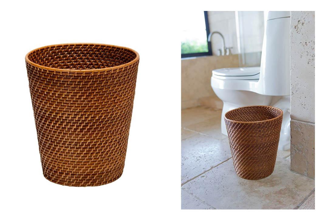 Round Rattan Waste Basket