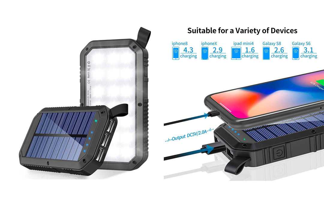 Solar Charger, 8000mAh 3-Port USB Light Solar Power Bank