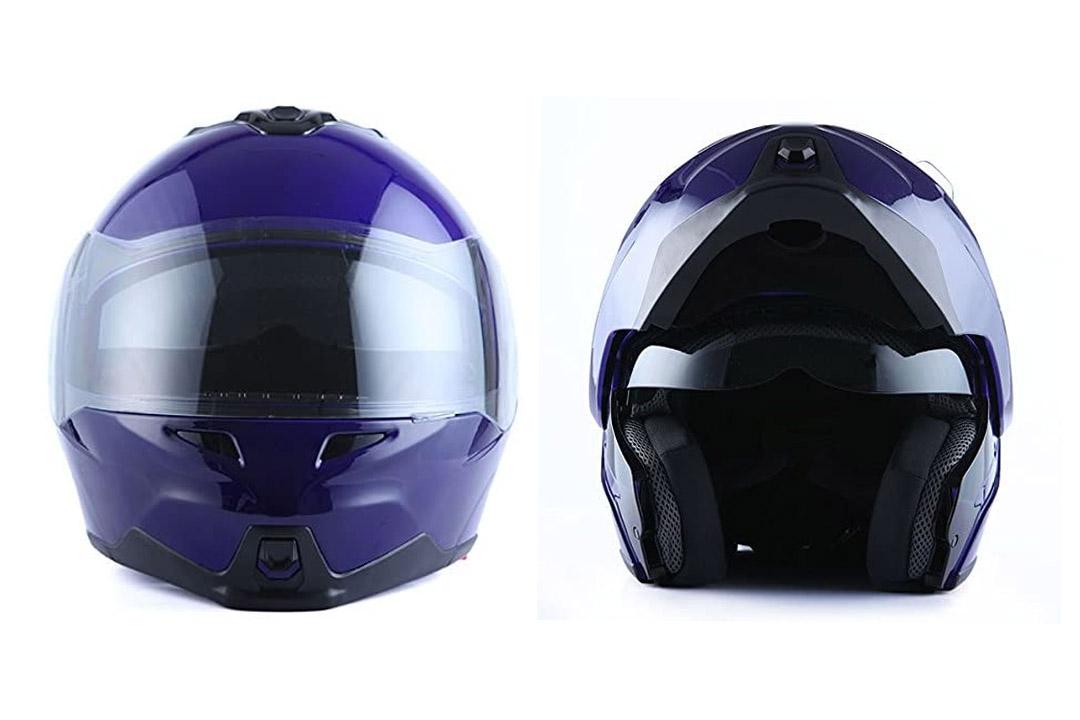 Storm Motorcycle Street Bike Modular/Flip up Dual Visor/Sun Shield Full Face Helmet
