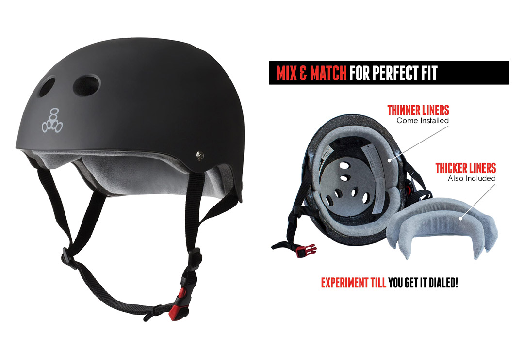 Triple 8 THE Certified Sweatsaver Helmet for Skateboarding, BMX, Roller Skating and Action Sports