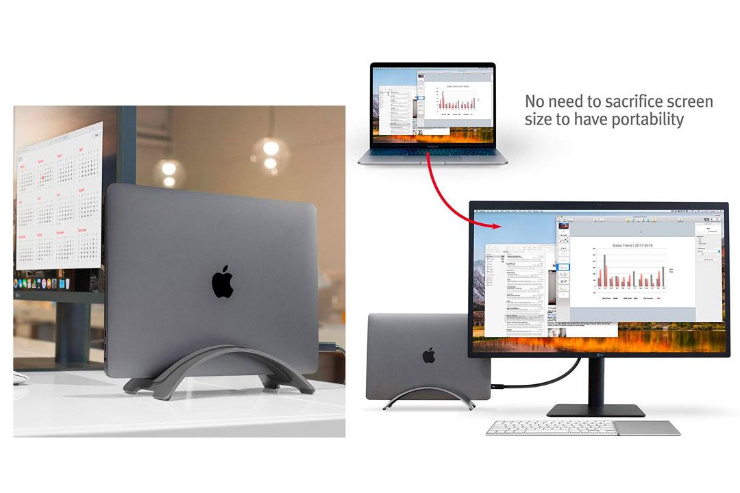 Twelve South BookArc for MacBook, space grey | Space-saving vertical desktop stand