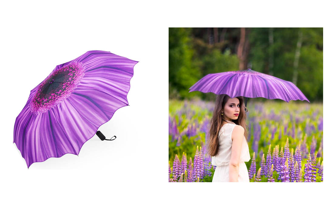Umbrella, PLEMO Violet Daisy Automatic Folding Travel Umbrella