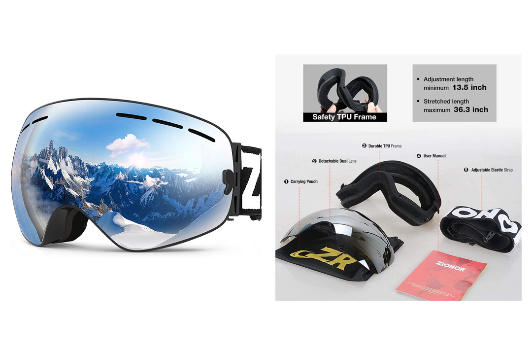 Zionor X Ski Snowboard Snow Goggles OTG Design for Men Women with Spherical Detachable Lens UV Protection Anti-fog