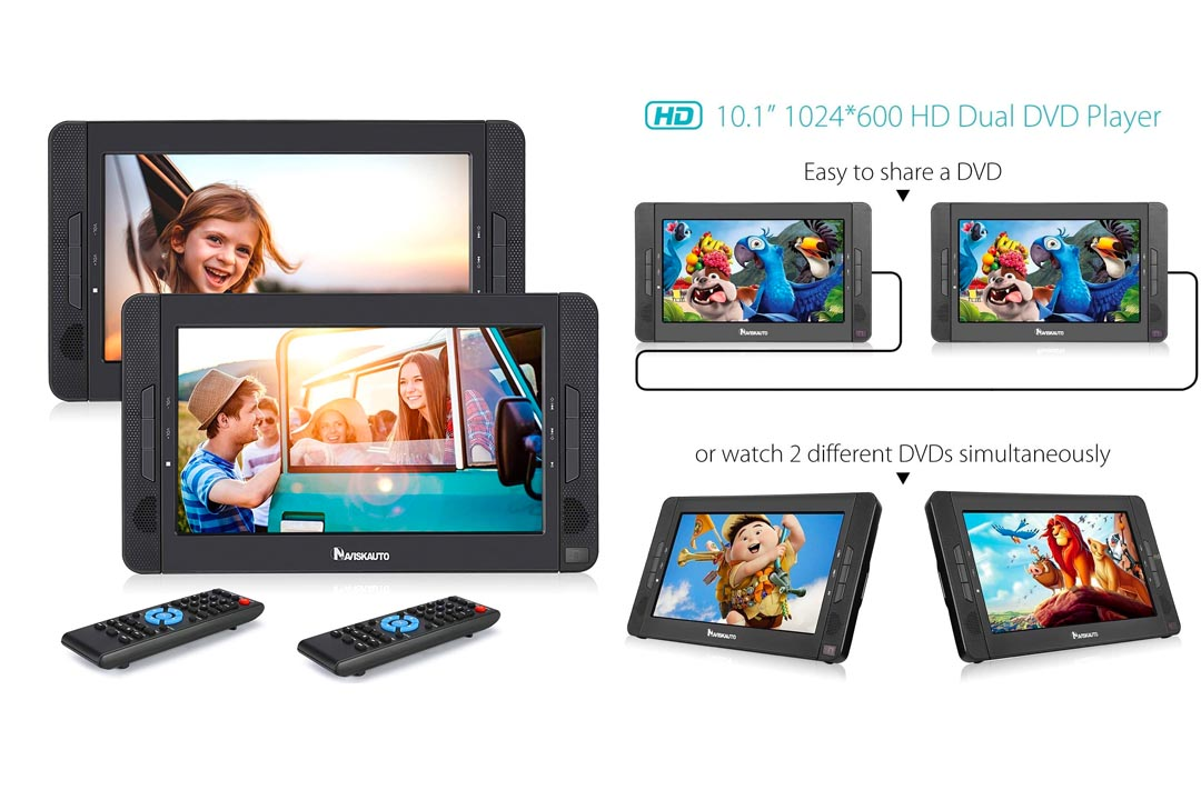 """10.1"""" Dual Screen Portable DVD Player Rechargeable Battery-Black DVD Player"""