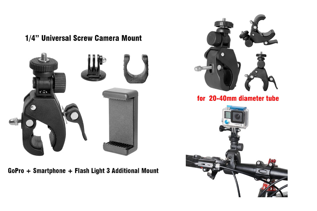Action Camera + Smartphone + Flashlight + Waterproof Camera 4-in-1 Fast Bike Clamp Mount Bicycle Holder