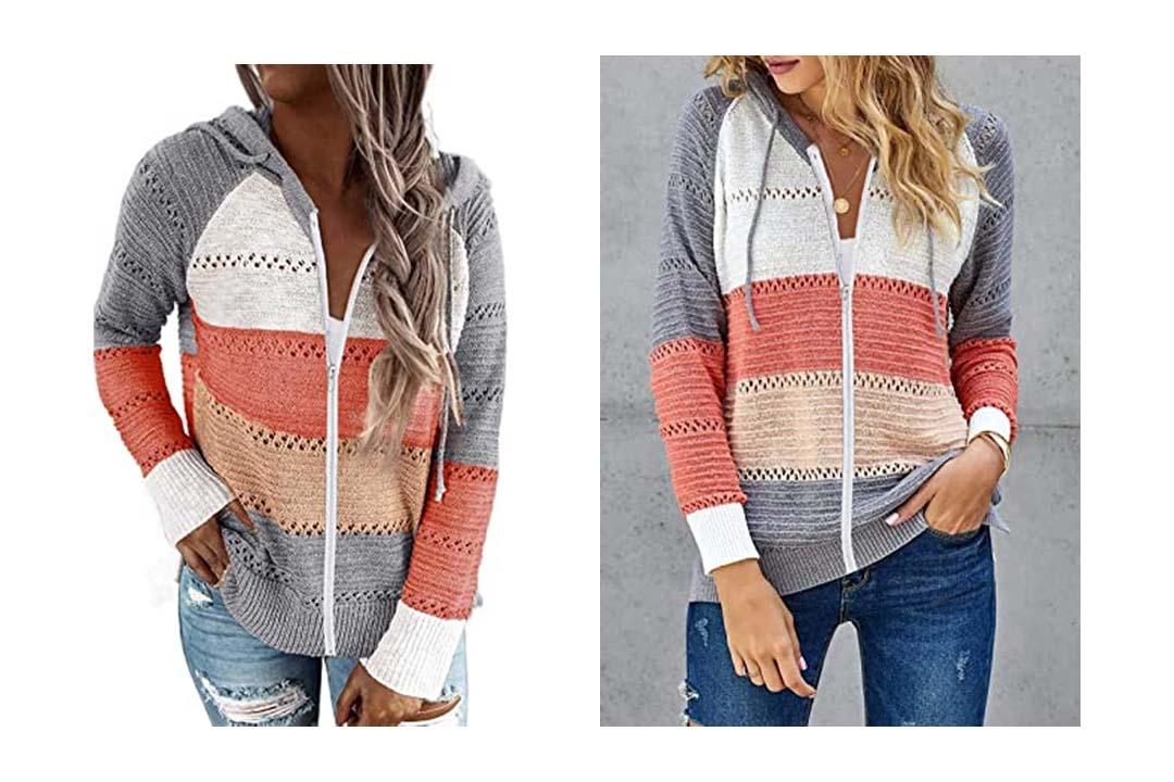 BTFBM Women Zip Up Striped Hoodies Jackets