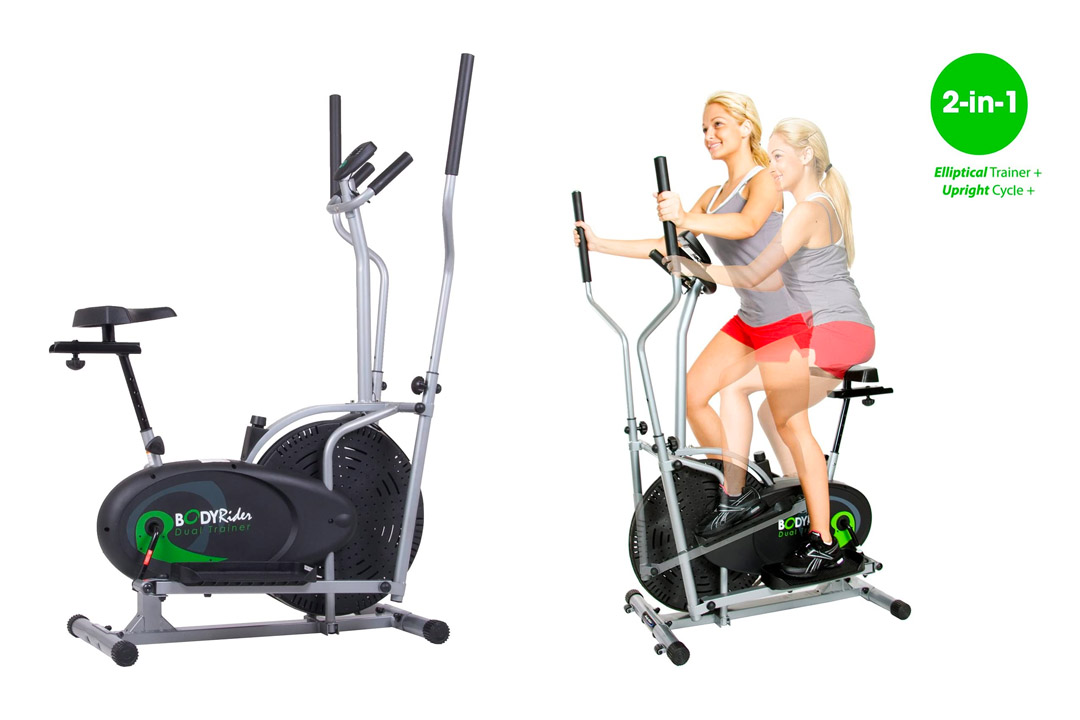 Body Rider BRD2000 Elliptical Trainer and Exercise Bike with Seat Dual Trainer