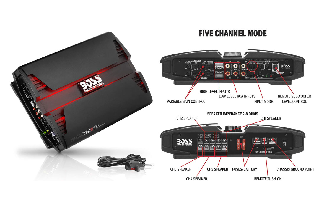 Car Amplifiers   BOSS Audio PV3700 Phantom 3700 Watt, 2/4 Ohm Stable Class Amplifier