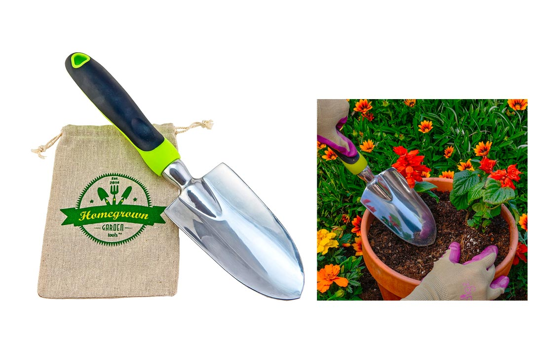 Gardening Trowel with Ergonomic Handle; Heavy Duty Polished Aluminum Hand Shovel