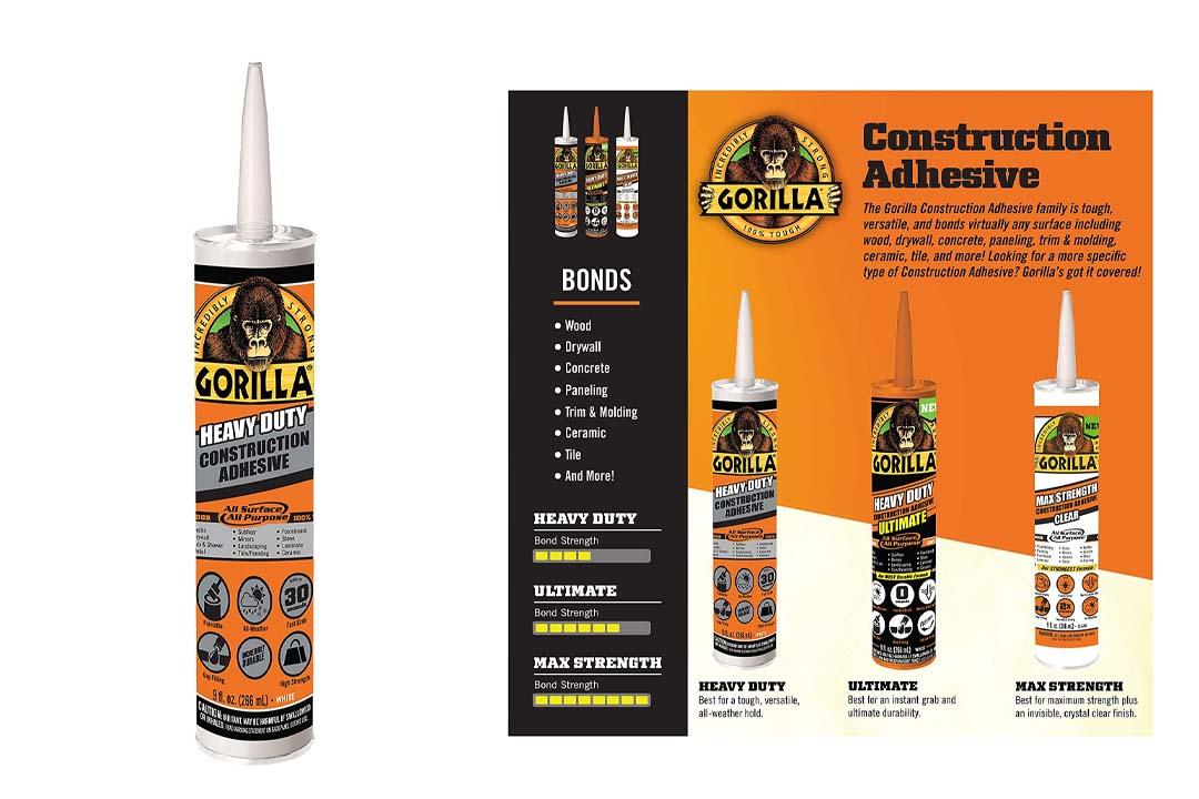 Gorilla 8010001 Heavy Duty Construction Adhesive, 9 oz., White