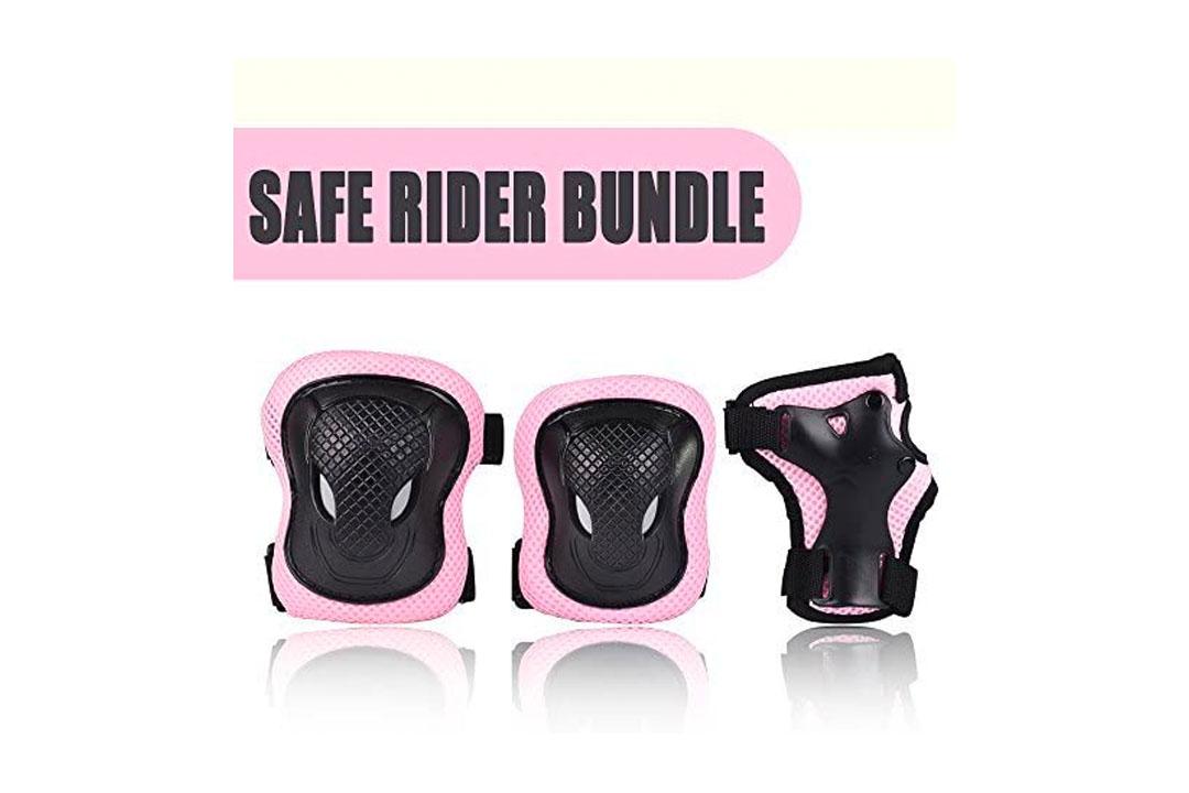 Kuxuan Girl's Cira Pink Protective Gear Knee Pads Elbow Pads and Wrist Guards