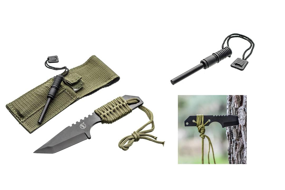 SE KHK6320-FFP Outdoor Tanto Knife with Fire Starter, Black, Fix Blade Pocket Knife